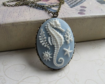 Seahorse cameo necklace large pendant nautical necklace long chain
