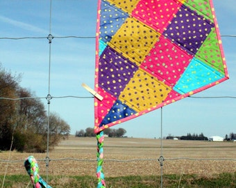 Quilted Wall Art, Let's Go Fly a Kite, Whimsy,  Bright Batik Polka Dots