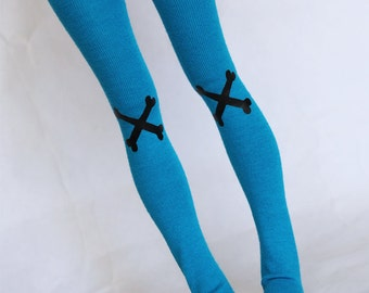 MSD BJD clothes Turquoise Bone print thigh high socks MonstroDesigns