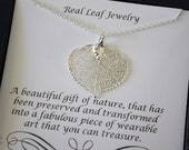 Silver Leaf Necklace, Apsen Leaf Necklace, Mother Card, Real Leaf Necklace, Sterling Silver Leaf, Card, Silver Aspen, Gift, Box, Party gift