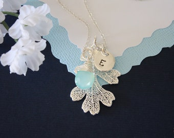 Silver Oak Leaf Necklace Personalized, Bridesmaid Gift, Real Leaf Necklace, Initial Jewelry, Sterling Silver, Gemstone, Monogram Necklace