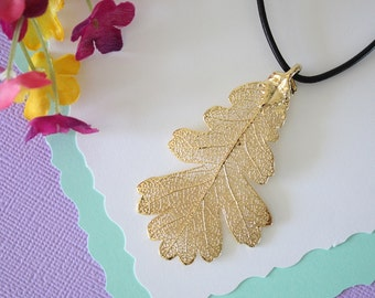 Gold Leaf Necklace, Real Leaf, Oak Leaf Pendant, Gold Lacey Oak Leaf Necklace, Real Leaf Necklace, 24kt Gold Dipped Leaf, LL105