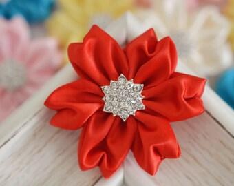 NEW! 2pcs Handmade Satin flowers--red (FB1061)