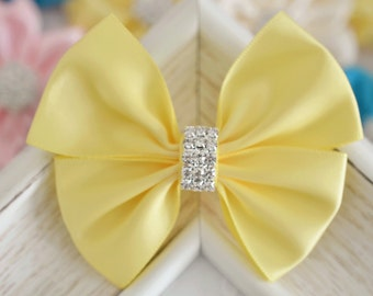 NEW! Set of 2pcs handmade Satin Bows--yellow (GR1162)