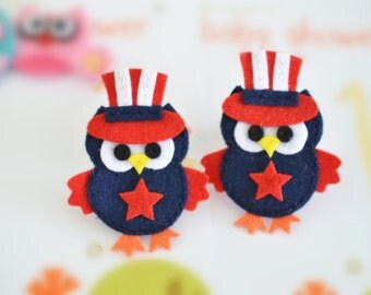 New! Set of 6pcs handmade felt owl--navy (FT1046)