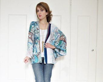 Floral kimono jacket, gypsy kimono, batwing sleeves, cape kimono, beach cover up, summer kimono, boho kimono, watercolour print, boho top