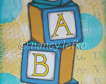baby blocks - 6 x 9 ORIGINAL COLLAGE by Nancy Lefko
