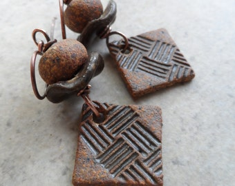 Diamonds in the Rough ... Ceramic and Copper Rustic, Boho Earrings