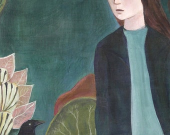 Near at Hand, Greeting Card, women, crows, greens
