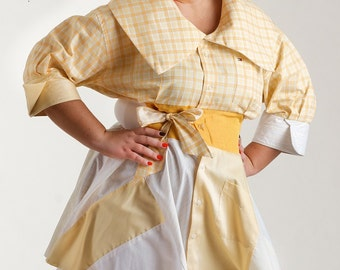 Size Large Blouse from Upcycled Men's Shirts/ Yellow Peplum Top 12-14 /brendaabdullah