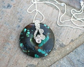 Turquoise Gemstone Donut, Pendant Wire Weaved, Sterling Silver Bail Handmade Necklace