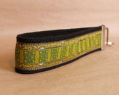 Emerald Green Maltese Jacquard Ribbon Key Fob