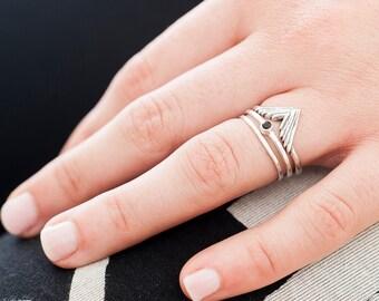 Simple Take Flight Ring Set  Nature Inspired    Ring Set   Stacking Rings