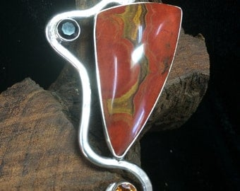 Autumn Vine - Fire Citrine, Black Spinel, Madeira Citrine, and African Red Cape Jasper Sterling Silver Pendant