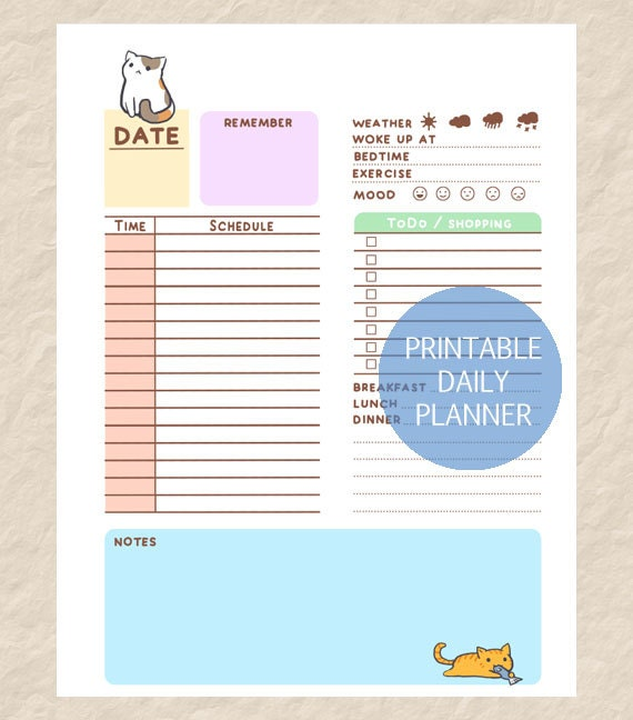 Printable Cute Cate Daily Planner Cute Cat Theme Day Planner