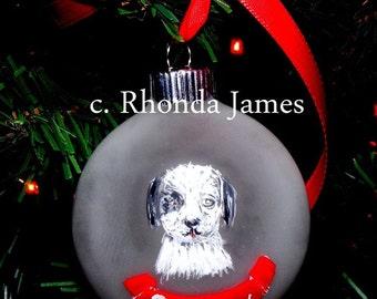 Custom Pet Cat Dog Ornament Christmas Decor  Hand Painted Original Art Personalized