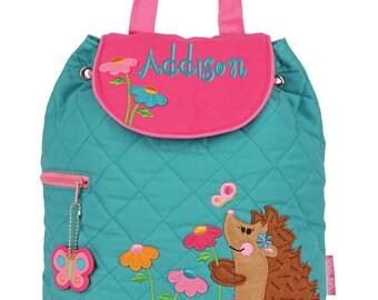 Girls Backpack Personalized Hedgehog Stephen Joseph Quilted Preschool Toddler