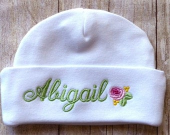 Personalized Newborn Baby Hat Embroidered Infant Boy Girl Beanie Cap