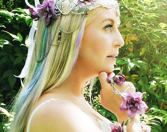 Silver Bridal Flower Crown, Floral Crown, Fairy, Renaissance,Wedding Headpiece,Wedding Hair Accessory, Wedding Hair Wreath, Chelsea