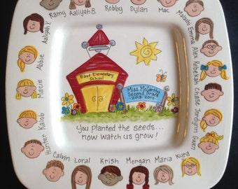 Hand Painted 12 Inch Rimmed Square Teacher Platter - Personalized - Great Gift for Teacher!