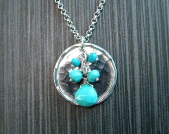 Long Turquoise Pendant Necklace in Hammered Sterling Silver - Light Blue Genuine Arizona Turquoise on Hammered Disk - Nickel Free