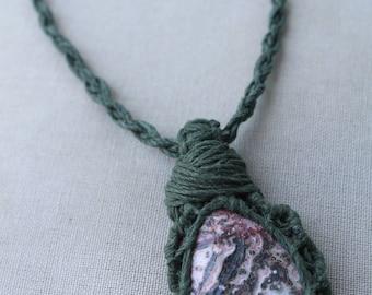 Leopard Jasper Hemp Wrap Necklace - Natural Bohemian Hippie