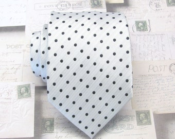 Mens Tie Ivory Black Dot Silk Neck Tie.  Wedding Ties.