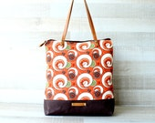 Canvas Tote Bag, Rust Orange Spiral Pattern Bag, Diaper Bag, EXPRESS SHIPPING, Genuine Leather Straps, White, Handbag, Summer, Laptop Tote