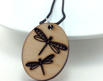 Wood Dragonfly Necklace, Essential Oil Jewelry, Aromatherapy Pendant, Laser Cut Necklace, Wood Dragonfly Jewelry, Dragonfly Pendant