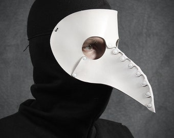 Beak Mask in White Leather