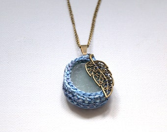 Sea glass necklace blue Valentine gift for her crochet bronze leaf gift for her textile jewelry seaglass pendant beach Weddings Birthday