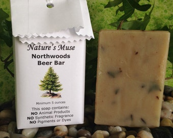 Northwoods Beer Bar Soap, vegan, 5 to 6 ounce bar, with Fuller's Earth