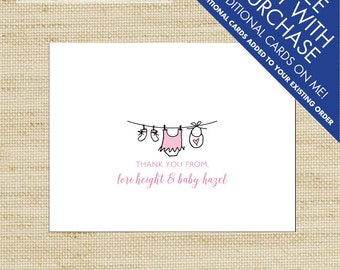 Baby Girl Thank You Cards, Personalized Folded Note Cards, Baby Clothes Line Thank You Cards, New Baby Stationery, Eco Friendly