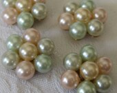 Set of 4 VINTAGE Imitation Pastel Pearl in Metal BUTTONS