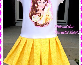 girls Belle dress Beauty and the Beast 2T 3T 4T 5T 4/5 5/6 7/8 10/12 and 14/16 ready to ship