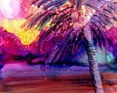 Coconut Palm Tree 2 Original Alcohol Inks on Yupo Painting from Kauai Hawaii pink yellow purple