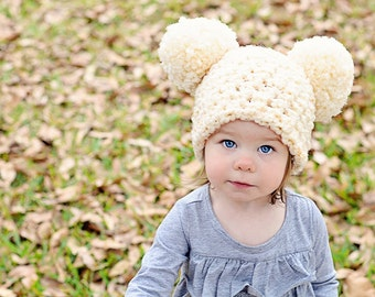 9 Sizes Ivory Cream Pom Pom Hat Baby Hat Baby Girl Hat Toddler Hat Toddler Girl Hat Womens Hat Photo Prop Photography Prop Winter Hat Fun