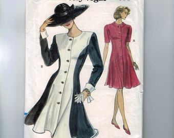 1990s Vintage Sewing Pattern Vogue 8157 Misses Flared Pricness Seam Dress Button Front Easy Size 8 10 12 Bust 31 32 33 34 1991 UNCUT  99