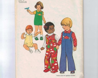 1970s Vintage Girls Sewing Pattern Simplicity 7322 Toddler Jumpsuit Overalls Shortalls Shirt Boy Girl Turtle Size 2 or 4 1975 70s  99