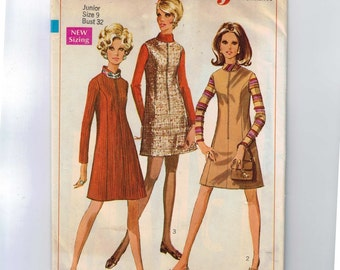 1960s Sewing Pattern Simplicity 7758 Misses A Line Dress or Jumper Princess Seams Size 9 Bust 32 1968 60s  99