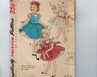 1950s Vintage Sewing Pattern Simplicity 4870 Girls Jumper and Dress with Matching 14 17 23 Inch Doll Clothes Size 4 Breast 23 50s