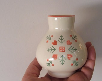 Vintage Red White and Green Petit Point Vase