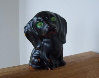 Vintage Green Eyed Dog Ceramic Figurine