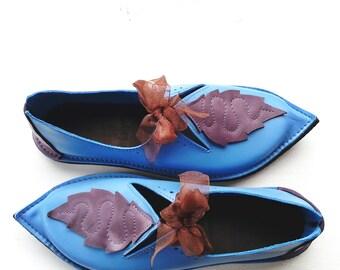 UK 6, Handmade Womens Leather Fairytale Shoes, TITANIA Shoes 2865 cornflower, lavender