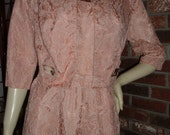 Vintage 50s L XL 38 40B Lace Flared Cocktail Party Dress with Jacket Belt Side Zip Opal Buttons Dusty Mauve