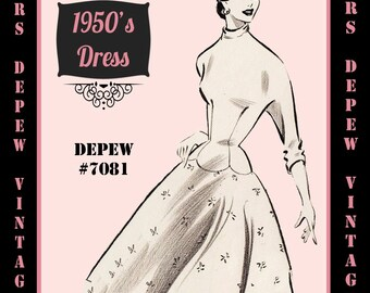 Vintage Sewing Pattern 1950's Coctail or Day Dress in Any Size - PLUS Size Included - Depew 7081 -INSTANT DOWNLOAD-