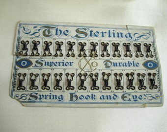 Antique Sewing Collectible Card of Hooks and Eyes with Beautiful Victorian Graphics