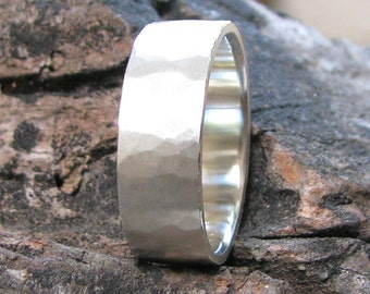 8mm Silver Mens Wedding Band, Hammered Silver Wedding Band, Rustic Mens Wedding Band, Rustic Mens Ring, Recycled Silver Ring Eco Friendly
