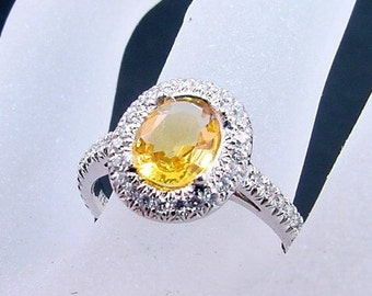 AAAA Canary Yellow Sapphire   8x6mm  1.09 Carats   in 14K white gold Diamond halo engagement ring 0433