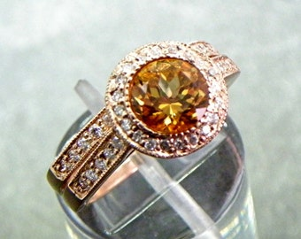 AAA Round Natural Citrine   7mm  1.30 Carats   in 14K Rose gold bridal set with .35cts of diamonds. B007 1464